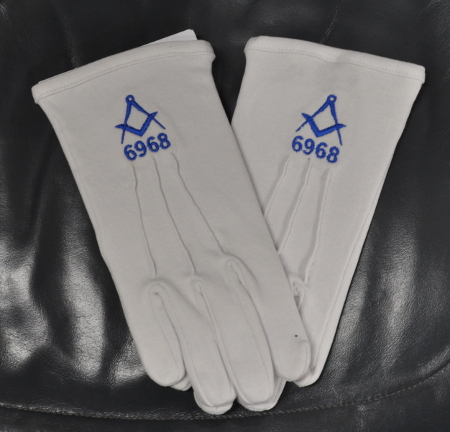 White Gloves - Bespoke Lodge Gloves with Square & Compasses and Number