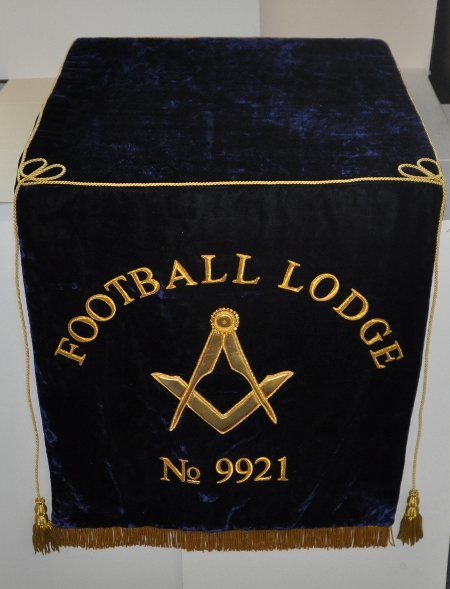 Craft Lodge Bible Cushion & 600mm Dropfall with Lodge Name & No