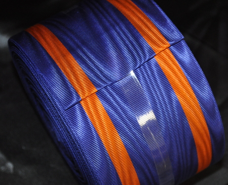 Blue Ribbon with 2 Thick Orange Bands - watermarked - 100mm (per meter)