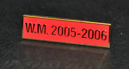 Breast Jewel Middle Date Bar 'WM 2005-2006 - Gilt on Red Enamel