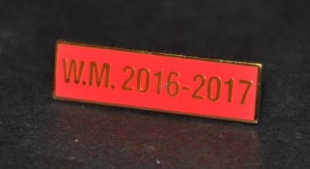 Breast Jewel Middle Date Bar 'WM 2016-2017 - Gilt on Red Enamel