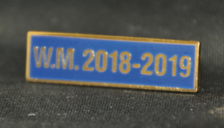 Breast Jewel Middle Date Bar 'WM 2018-2019 - Gilt on Blue Enamel