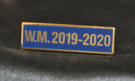 Breast Jewel Middle Date Bar 'WM 2019-2020 - Gilt on Blue Enamel