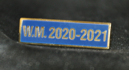 Breast Jewel Middle Date Bar 'WM 2020-2021 - Gilt on Blue Enamel