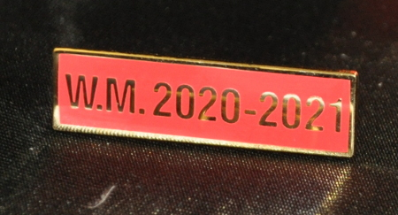Breast Jewel Middle Date Bar 'WM 2020-2021 - Gilt on Red Enamel