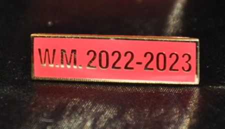 Breast Jewel Middle Date Bar 'WM 2022-2023 - Gilt on Red Enamel