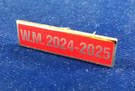 Breast Jewel Middle Date Bar 'WM 2024-2025 - Gilt on Red Enamel