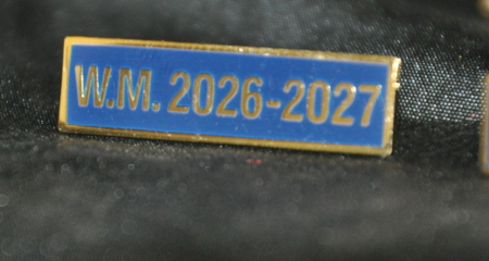 Breast Jewel Middle Date Bar 'WM 2026-2027 - Gilt on Blue Enamel