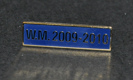 Breast Jewel Middle Date Bar 'WM 2009-2010 - Gilt on Blue Enamel