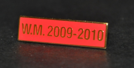 Breast Jewel Middle Date Bar 'WM 2009-2010 - Gilt on Red Enamel