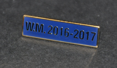 Breast Jewel Middle Date Bar 'WM 2016-2017 - Gilt on Blue Enamel
