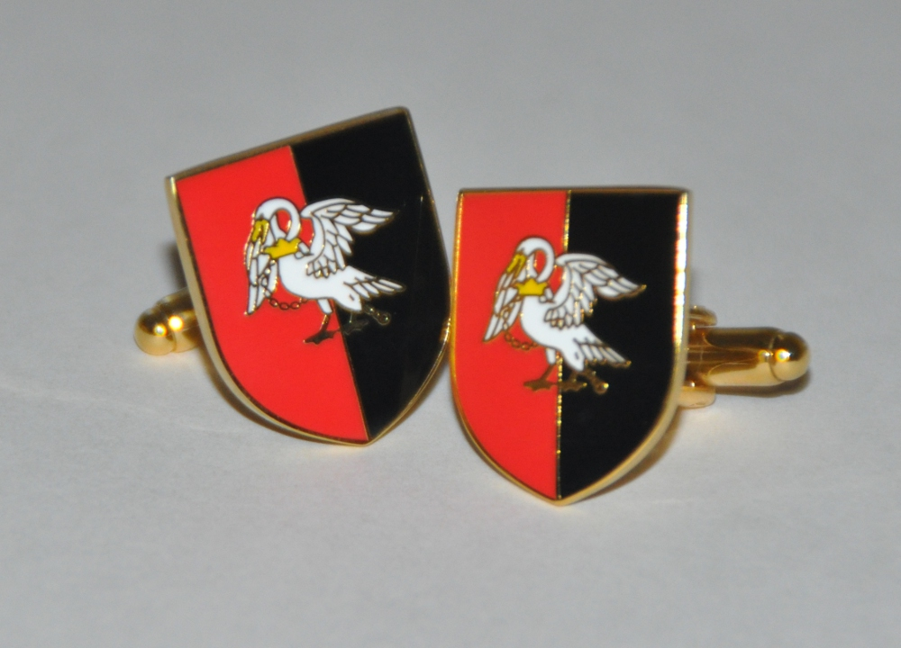 Buckinghamshire Flag Gold Plated Enamel Cufflinks