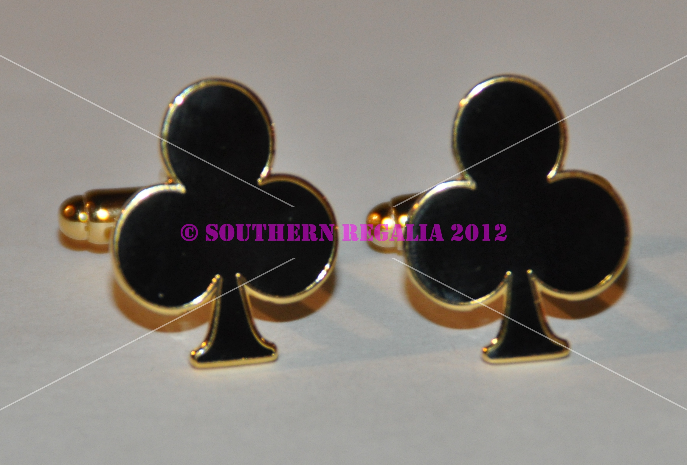 Playing Card - Clubs Gold Plated Cufflinks