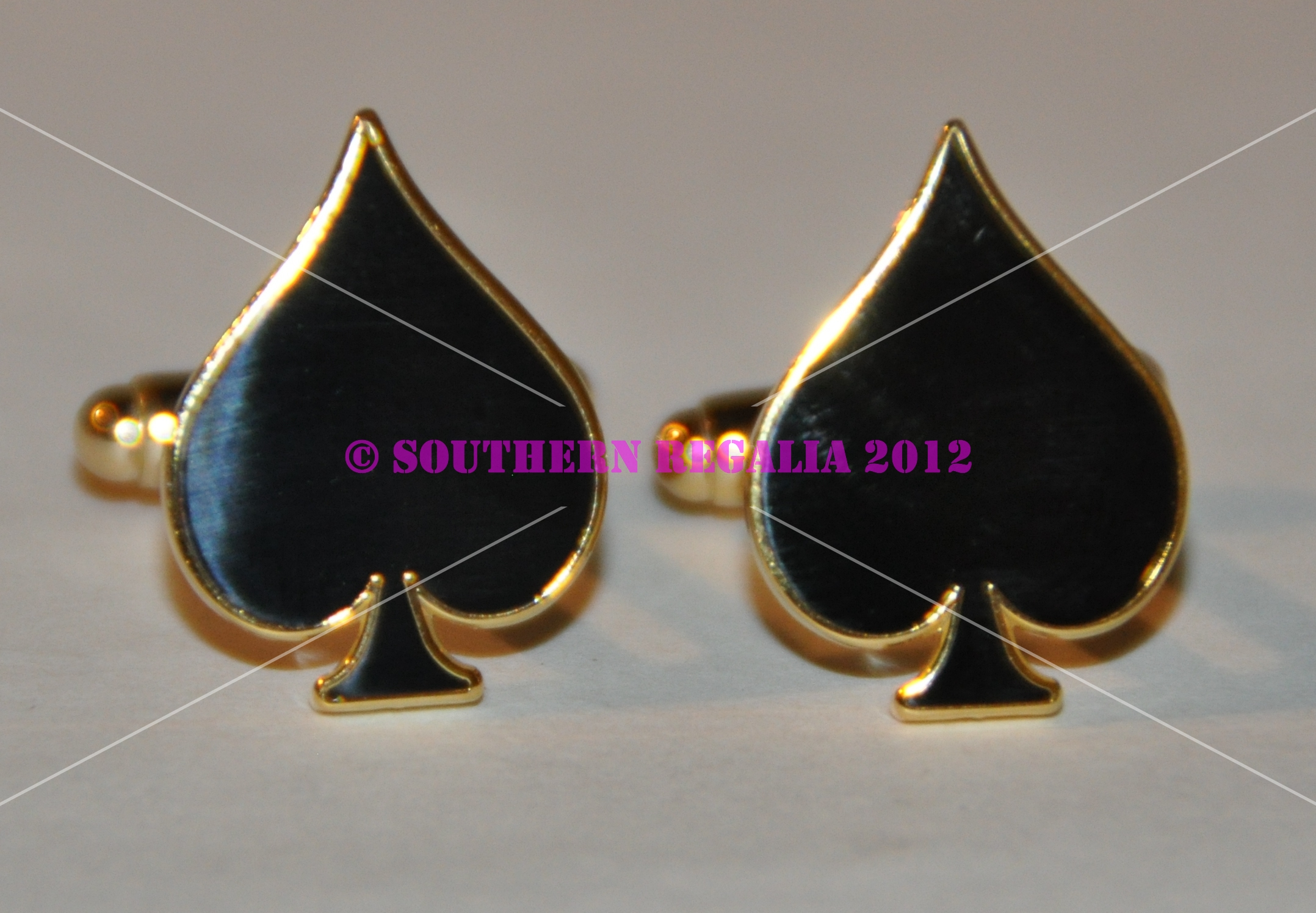 Playing Card - Spades Gold Plated Cufflinks