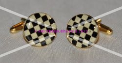 Chequered Flag Pavement Board Enamel & Gold Plated Cufflinks