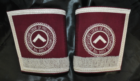 Craft Provincial Grand Stewards Lodge Officers Gauntlets - Maroon