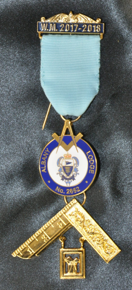 Craft Past Masters Breast Jewel (ii) - Enameled Letters with Bespoke Crest under Ribbon