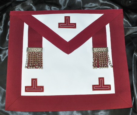 Provincial Stewards Apron [Embroidered Levels] & Badge - Leather - Maroon