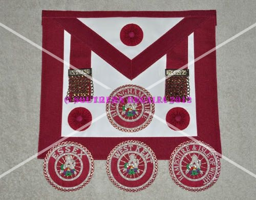 Provincial Stewards Apron [Rosettes] & Badge - Leather - Magenta