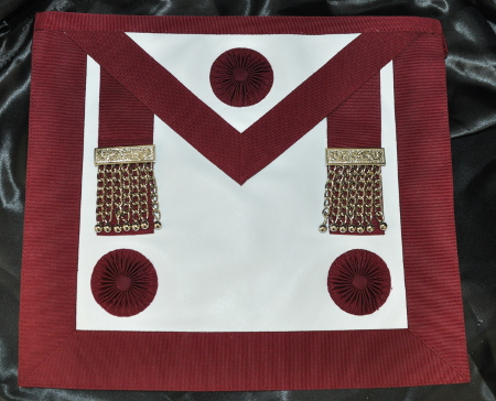 Provincial Stewards Apron [Rosettes] & Badge - Leather - Maroon