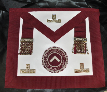 Craft Provincial Grand Stewards Lodge Officers Apron [Leather] & Badge - Maroon