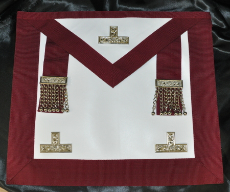 Provincial Stewards Apron [Metal Levels] & Badge - Leather - Maroon
