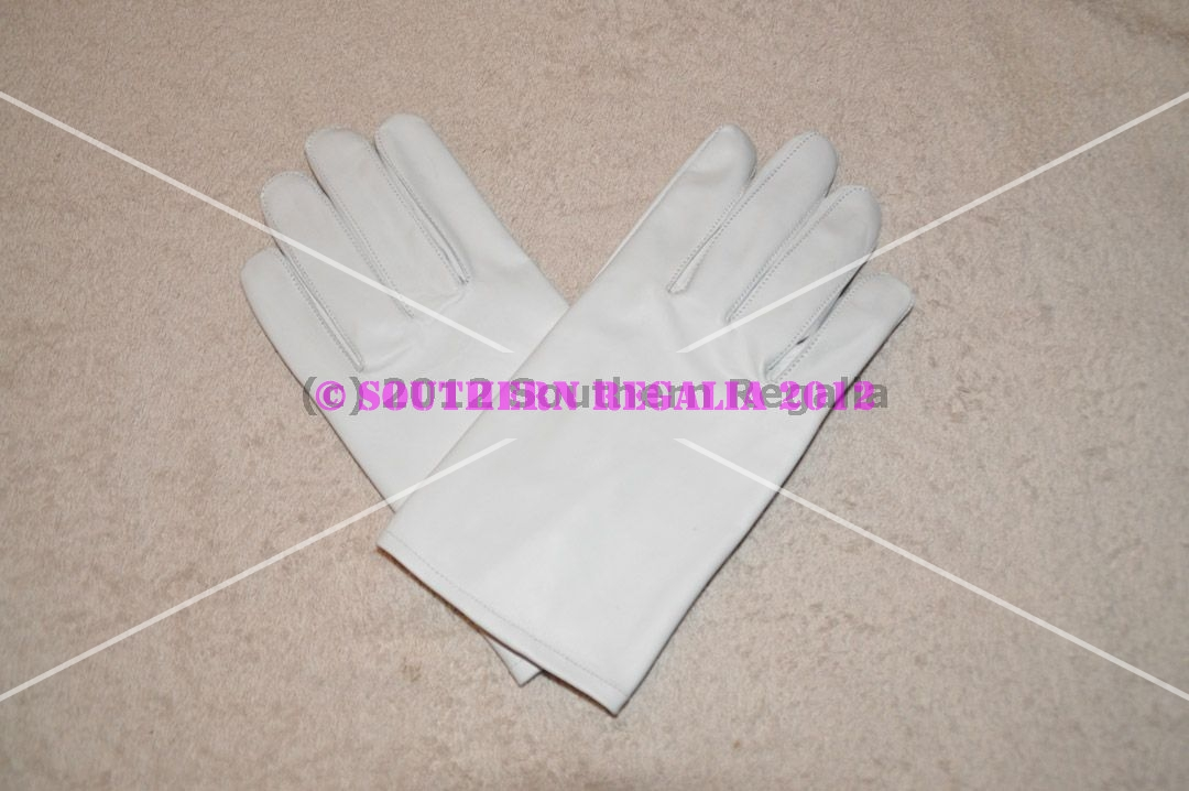 White Ceremonial Gloves - Leather (Large)
