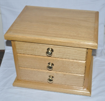 Working Tools set [silverplated] in 3 Drawer Cabinet [Oak]