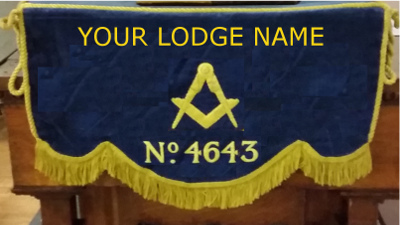 Craft Lodge Bible Cushion & 300mm Drape with Lodge Name & No.
