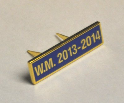 Breast Jewel Middle Date Bar 'WM 2013-2014 - Gilt on Blue Enamel