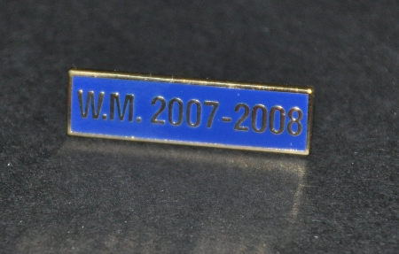 Breast Jewel Middle Date Bar 'WM 2007-2008 - Gilt on Blue Enamel