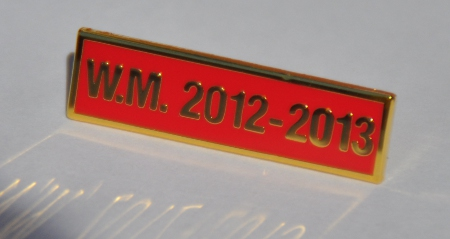 Breast Jewel Middle Date Bar 'WM 2012-2013 - Gilt on Red Enamel