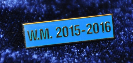 Breast Jewel Middle Date Bar 'WM 2015-2016 - Gilt on Blue Enamel