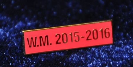 Breast Jewel Middle Date Bar 'WM 2015-2016 - Gilt on Red Enamel