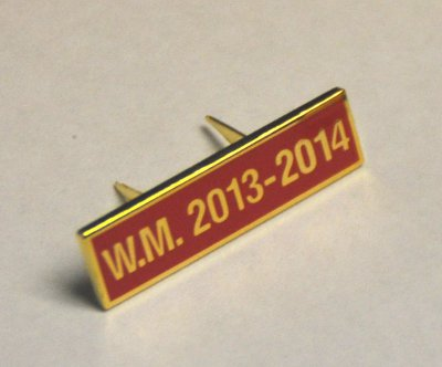 Breast Jewel Middle Date Bar 'WM 2013-2014 - Gilt on Red Enamel