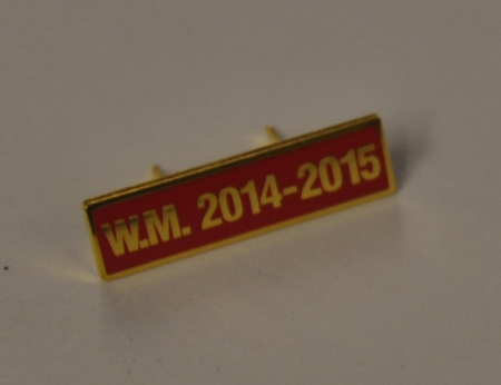 Breast Jewel Middle Date Bar 'WM 2014-2015 - Gilt on Red Enamel