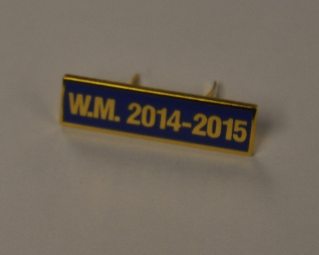 Breast Jewel Middle Date Bar 'WM 2014-2015 - Gilt on Blue Enamel