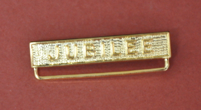 "Breast Jewel Top Bar ""JUBILEE"" - Gilt Lettering - 32mm"