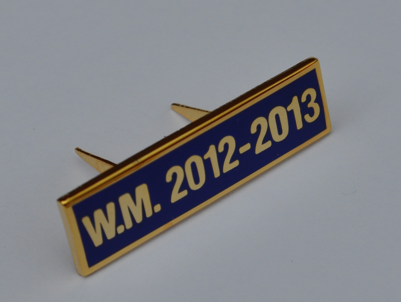 Breast Jewel Middle Date Bar 'WM 2012-2013 - Gilt on Blue Enamel