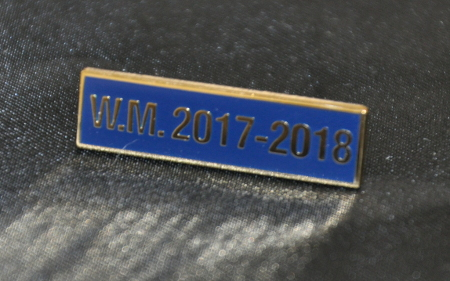 Breast Jewel Middle Date Bar 'WM 2017-2018 - Gilt on Blue Enamel