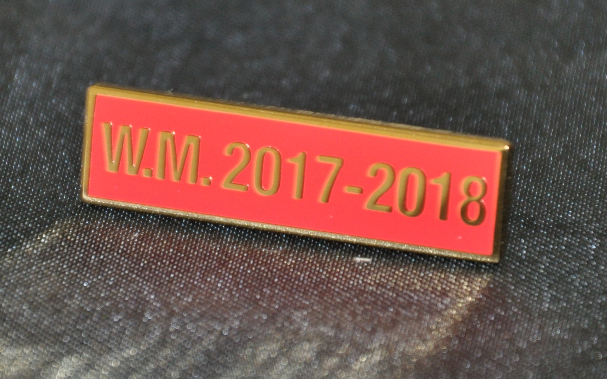 Breast Jewel Middle Date Bar 'WM 2017-2018 - Gilt on Red Enamel