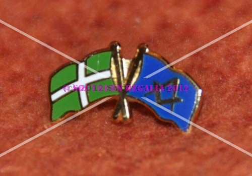 Devonshire & Square Compasses Dual Flags Lapel Pin