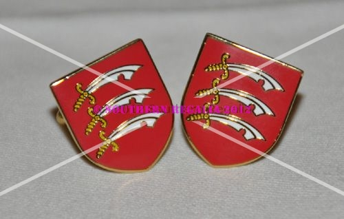 Essex Flag Gold Plated Enamel Cufflinks