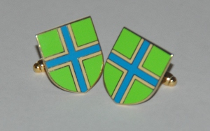 Gloucestershire Flag Gold Plated Enamel Cufflinks