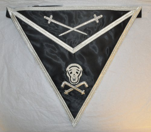 Knights Templar Apron [Black with Silver Braiding]