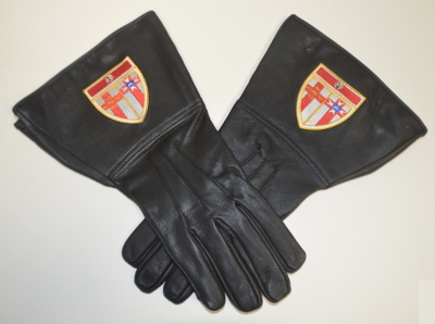 Knights Templar Leather Gauntlets with Personalised Shield