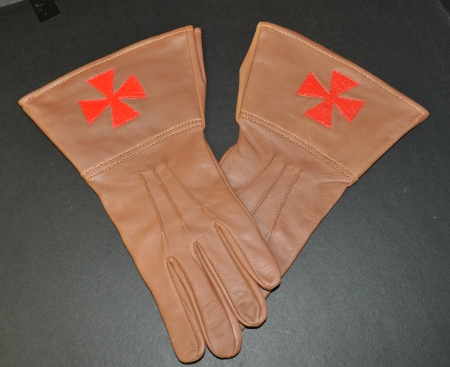 Knights Templar Leather Gauntlets - Brown (Large)