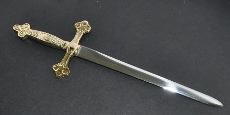 Masonic Letter Opener - 10in length (250mm) - Gilt Handle