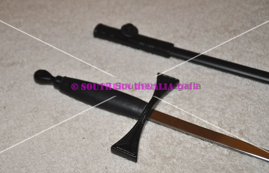 Knights Templar Standard Sword - Black Scabbard - 900mm