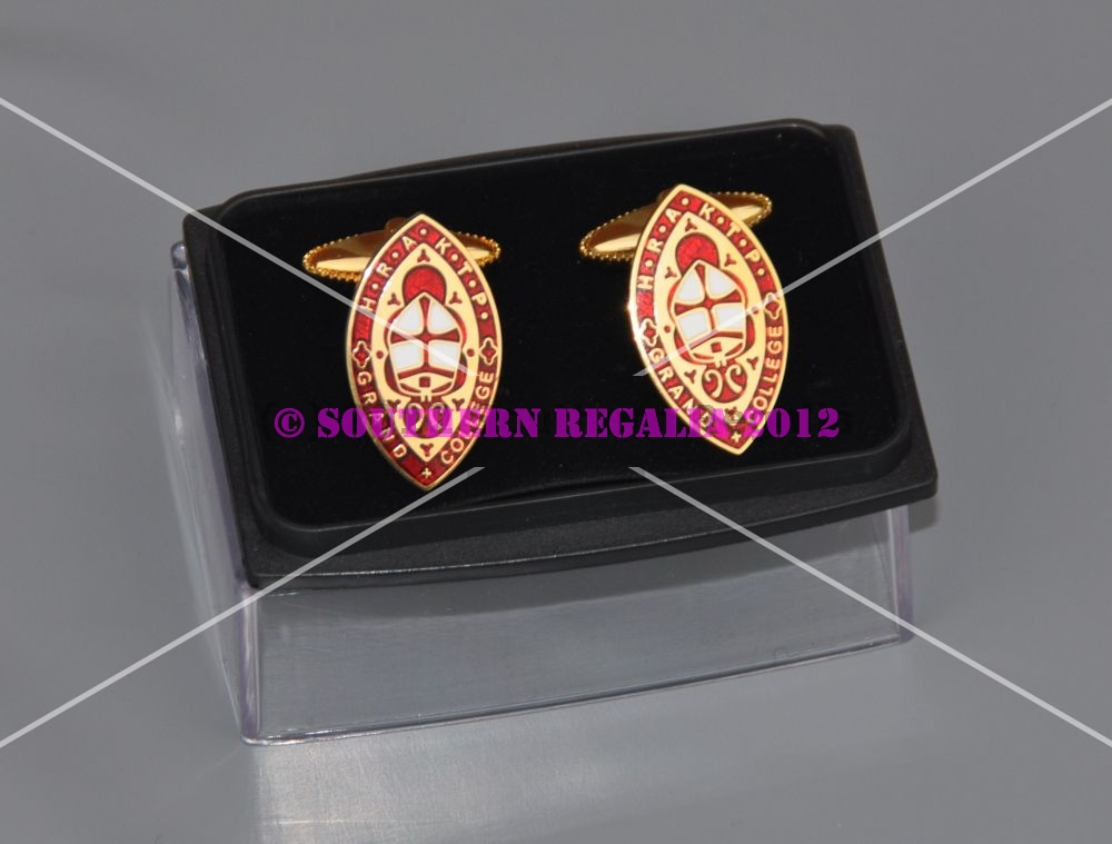 Knights Templar Priests Gold Plated & Enamel Cufflinks